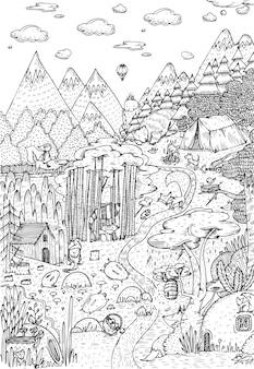 線画風に描かれた森の野生生物。塗り絵のページデザイン。ベクトルイラスト