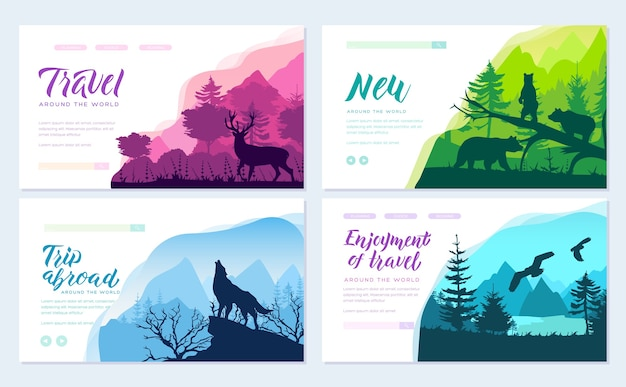 Wild life in nature vector cards set. animals template of magazines, poster, book cover, banners.