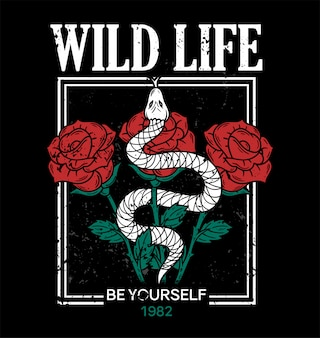 Wild life trendy embroidery print on t shirt tee sweatshirt textile shake and roses in frame vintage rock style for street casual wear print with fashion phrases graphic design old school illustration