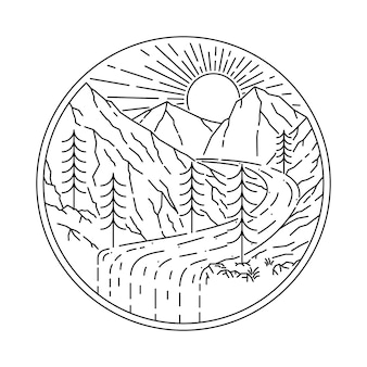 Природа гора wild line иллюстрация