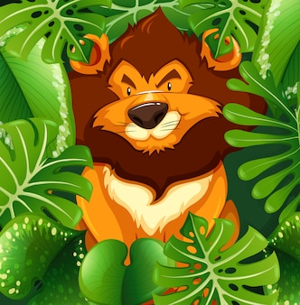 Wild lion in the green bush