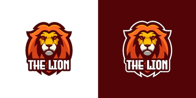 Wild lion mascot character logo template