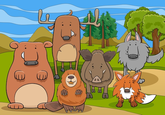 Wild mammals animal characters group cartoon illustration