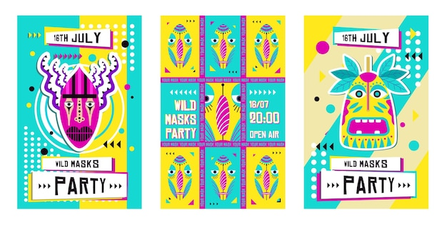 Wild mask party invitation cards design set. traditional bright tribal masks in boho style vector illustration. text, time and date samples