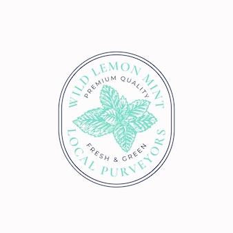 Wild mint frame badge or logo template