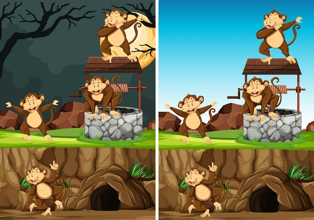 Wild monkey group in many poses in animal park cartoon style isolated on day and night background