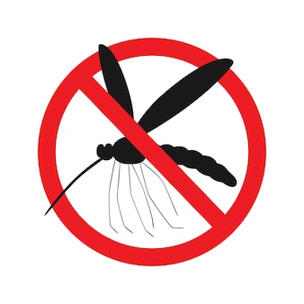 赤い取り消し線の円の野生の蚊。