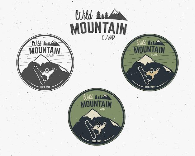 Wild mountain camping logos set