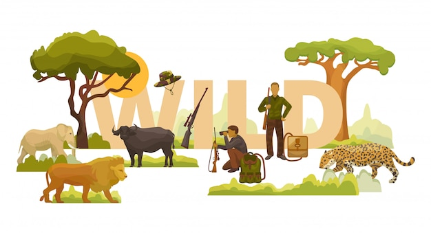 Wild nature african animals, plants, trees and men hunters with rifles, backpacks and binoculars  illustration. elephant, lion, leopard and buffalo.