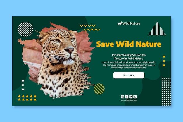 Шаблон баннера дикой природы с фото