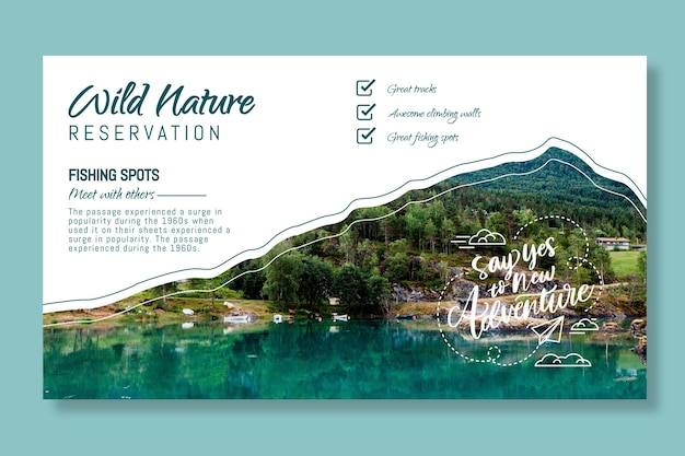 Wild nature banner template with photo