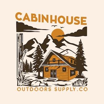 Wild nature cabin house illustration design real estate vector for company