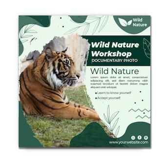 野生の自然のチラシの正方形のテンプレート