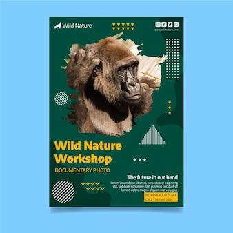 Шаблон флаера дикой природы с фото