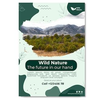 Wild nature flyer vertical template