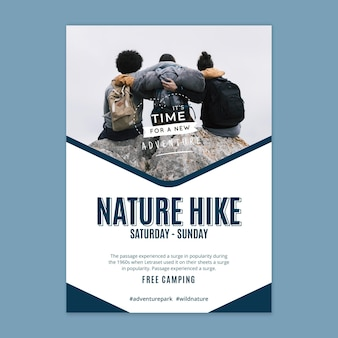 Wild nature hike poster template