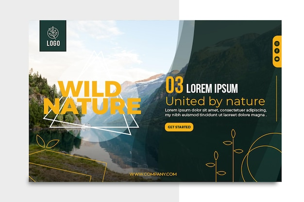 Wild nature horizontal banner template