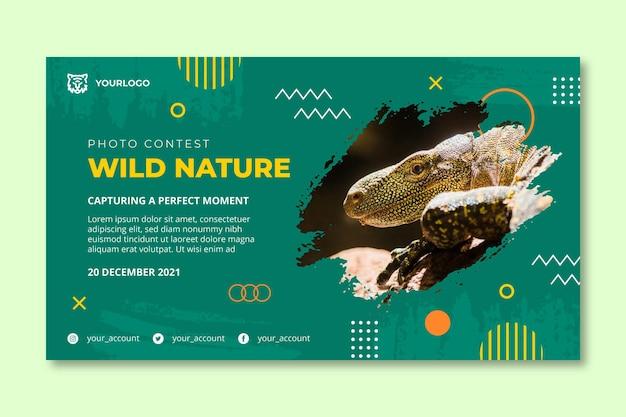 野生の自然の水平バナーテンプレート