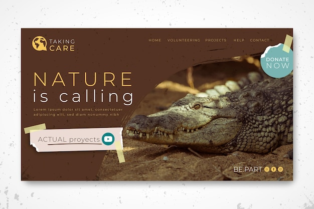 Wild nature landing page template