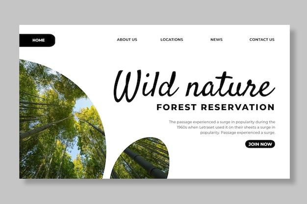 Modello di pagina di destinazione della natura selvaggia
