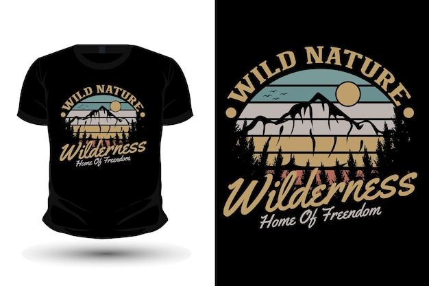 Wild nature nature merchandise silhouette mockup t shirt design