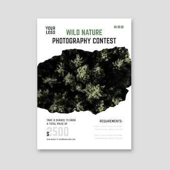 Wild nature photography contest flyer print template