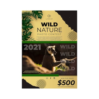 Wild nature poster template