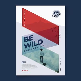 Wild nature vertical flyer template