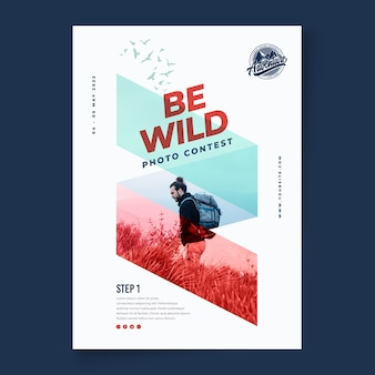 Шаблон вертикального плаката дикой природы