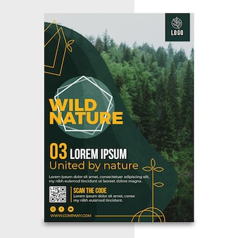 Wild nature vertical poster template