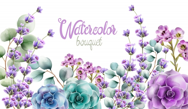 Wild nature watercolor flowers bouquet