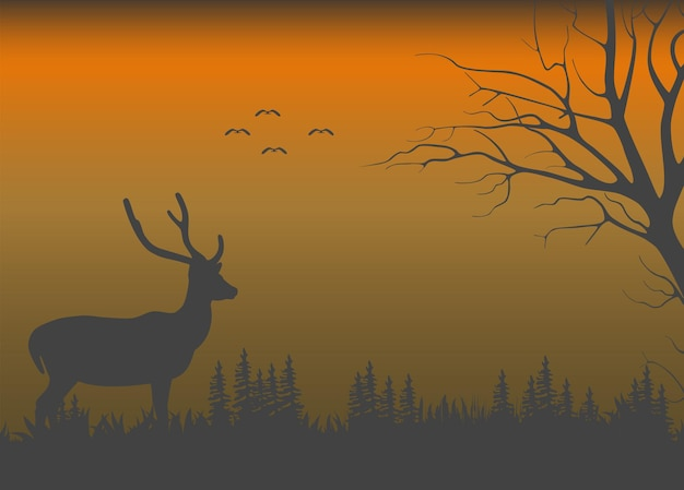 Wild nature when it gets dark and a deer standing in the bushes