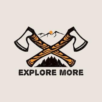 Дикий логотип топора на открытом воздухе