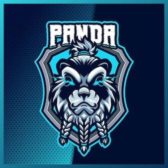 팀, 배지, 엠블럼 및 티셔츠 인쇄를 위한 현대적인 일러스트레이션 개념을 사용한 wild panda e스포츠 및 스포츠 마스코트 로고 디자인. 격리 된 배경에 곰 그림