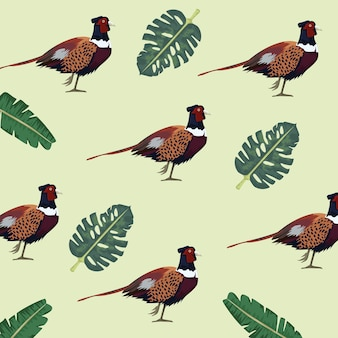 Wild pheasants birds farm and leafs pattern