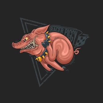 Дикая свинья с сердитым лицом работает быстро иллюстрации на черном фоне