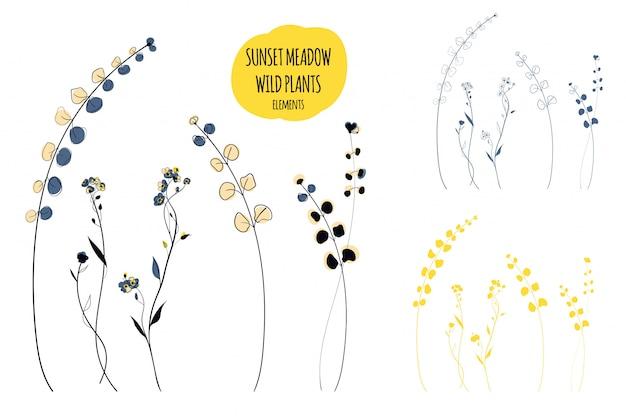 Дикие растения линии искусства иллюстрации в скандинавском стиле