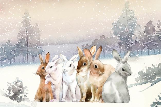 수채화 벡터로 그린 겨울 눈에 야생 토끼