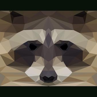 Дикий енот смотрит вперед. предпосылка темы жизни природы и животных. абстрактная геометрическая многоугольная иллюстрация треугольника для использования в дизайне карты, приглашения, плаката, баннера, плаката, обложки рекламного щита