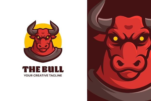 Wild red bull character mascot logo