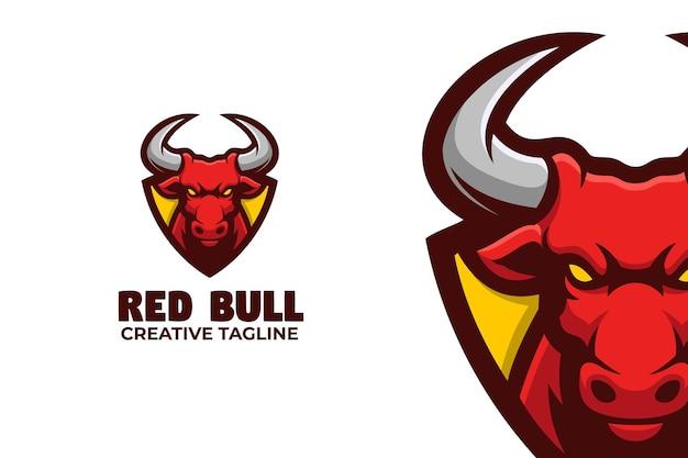 Wild red bull e-sport mascot logo