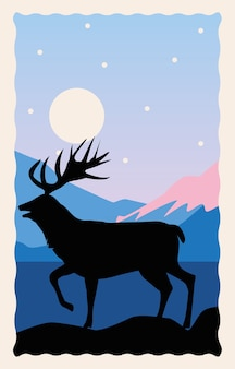 Wild reindeer animal silhouette nature