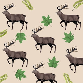 Wild reindeer animals and leafs pattern