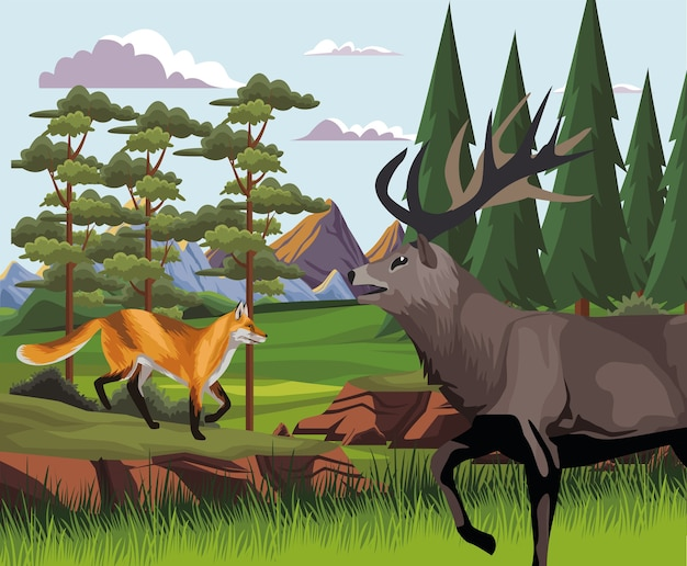 Wild reindeer and fox in the landscape