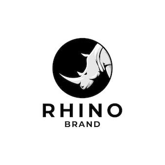 Wild rhino circle brand logo template Premium Vector