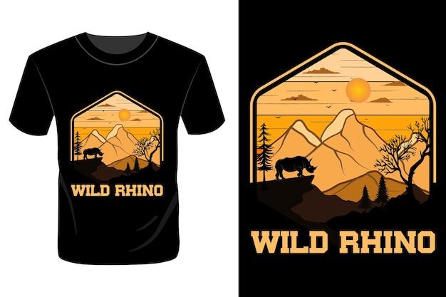 Дикий носорог дизайн футболки винтаж ретро