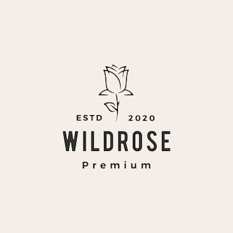 Wild rose flower hipster vintage logo icon illustration