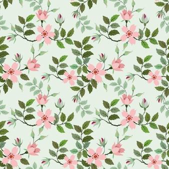 Wild rose vector seamless pattern