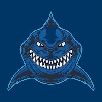 Дикая акула, изолированные на синем фоне