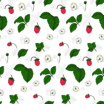 Wild strawberries seamless pattern